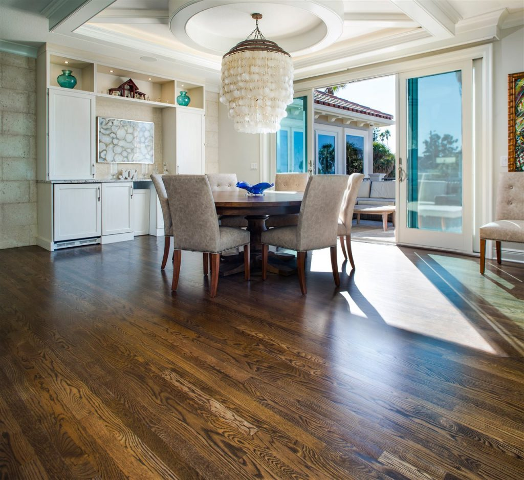 dining area with wood floor | Prestige Home Inspections | room redesign Akron